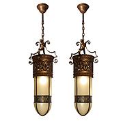 Substantial 19th Century Bullet Shade Pendant Lights