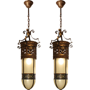 Substantial 19th Century Bullet Shade Pendant Lights