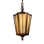 Antique Brass Lantern with Amber Slag Glass