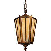 Antique Brass Lantern with Amber Slag Glass