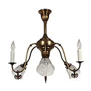 Antique Neoclassical Gas Chandelier with Original Shades, Late 19th Century