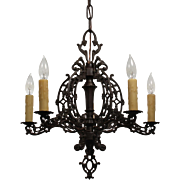 Antique Neoclassical Cast Iron Chandelier