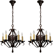 Antique Tudor Chandeliers with Shields