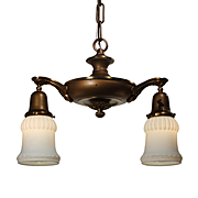 Antique Two Light Chandelier with Glass Shades