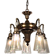 Antique Neoclassical Chandelier with Original Opalescent Shades