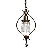 Antique Tudor Pendant Light with Prisms