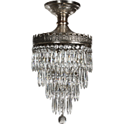 "Neoclassical Flush Mount ""Wedding Cake"" Chandelier, Antique Lighting"
