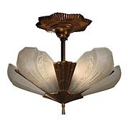 Antique Bronze Art Deco Semi-Flush Slip Shade Chandelier by Virden