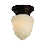 Antique Flush Mount Light With Original Glass Shade, c.1910