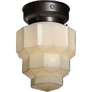 Art Deco Flush Mount with Flash Glass Shade, Antique Lighting