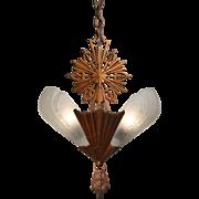 Antique Art Deco Slip Shade Chandelier, c.1930