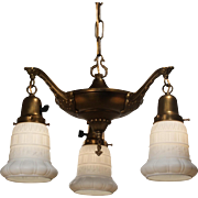 Antique Neoclassical Chandelier with Glass Shades