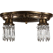 Spanish Revival Flush Mount Fixtures with Prisms, Antique Lighting