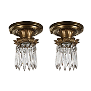 Antique Flush-Mount Lights with Prisms, Early 1900s