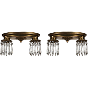 Neoclassical Flush Mount Fixtures with Prisms, Antique Lighting