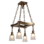 Antique Colonial Revival Brass Chandelier by Prestige Lighting, c.1910