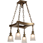 Antique Colonial Revival Brass Chandelier by Prestige Lighting, c.1910