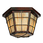 Arts and Crafts Flush Mount Cage Fixture, Antique Lighting