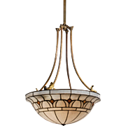 Inverted Dome Leaded Glass Chandelier, Antique Lighting