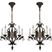 Spanish Revival Five Light Chandeliers, Antique Lighting