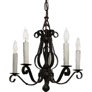 Antique Five Light Iron Chandelier, c.1920s