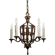 Spanish Revival Brass Chandelier with Shields, Antique Lighting