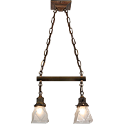 Antique Brass Arts & Crafts Two-Light Chandelier, Early 1900's