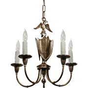 Antique Figural Eagle Chandelier in Silver Plate & Brass