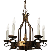 Spanish Revival Cast Brass Chandelier, Antique Lighting