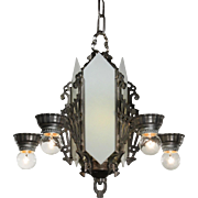 Art Deco Six-Light Chandelier, Antique Lighting