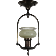 Antique Art Deco Semi-Flush Mount with Sit-In Shade