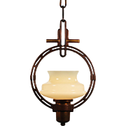 Antique Art Deco Pendant Light with Sit-In Shade