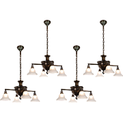 Antique Brass Colonial Revival Chandeliers