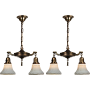 Antique Two Light Chandeliers with Glass Shades