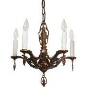 Striking Antique Spanish Revival Chandelier with Shields, Original Polychrome