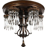 Neoclassical Semi-Flush Chandelier with Prisms, Antique Lighting