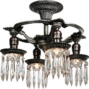 Neoclassical Semi-Flush Mount Fixture with Prisms, Antique Lighting