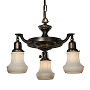 Antique Neoclassical Chandelier with Glass Shades, Early 1900s