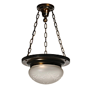 Antique Inverted Dome Chandelier with Original Acid-Etched Shade