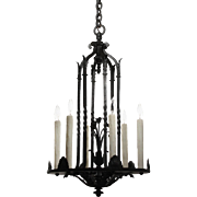 Antique Wrought Iron Chandelier, Early 1900s