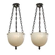 Antique Inverted Dome Pendant Lights, c. 1919