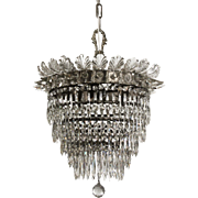 Antique Glass and Crystal Wedding Cake Chandelier