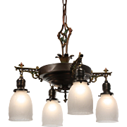 Neoclassical Chandelier with Original Polychrome, Antique Lighting
