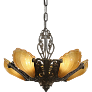 Antique Art Deco Slip Shade Chandelier, Riddle Co.