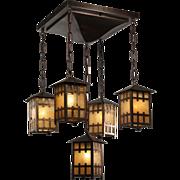 Arts and Crafts Five-Light Flush-Mount Chandelier, Antique Lighting