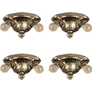 Antique Silver Plated Flush Mount Chandeliers, Signed Empire