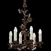 Antique Brass Floral Chandelier, Glass Lilies