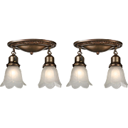 Antique Flush-Mount Light Fixtures with Original Shades
