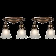 Antique Flush-Mount Light Fixtures with Original Shades