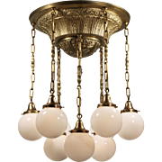 Antique Semi Flush-Mount Chandelier with Ball Shades